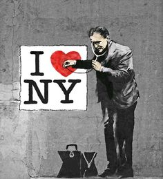 Just after the terrorist attack on the WTC, British street artist Banksy painted this on one of the remaining walls across the street from the site... #newyork
