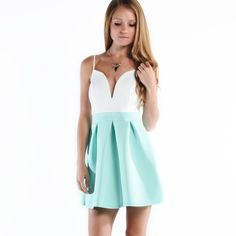 """LOWEST """"Secret Love"""" A-line Fit & Flare Dress Colorblock candy colored fit and flare mini dress. Super fun and girly! Available in coral and mint. This listing is for the MINT. This is an actual pic of the item - all photography done by me. Brand new. Bare Anthology Dresses"""