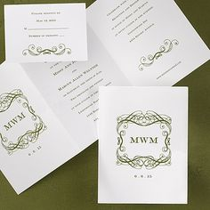"""A design with your initials and wedding date is shown on this bright white trifold invitation.  """"5 x 6 3/4"""" closed """"14 3/4 x 6 3/4"""" open"""