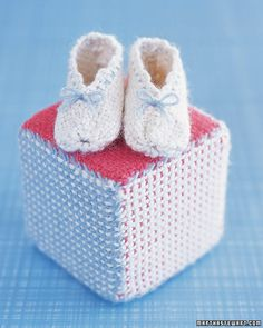 Baby Booties and Play Block A pair of handmade booties and matching block makes a thoughtful baby gift. How to Make Baby Booties and Play Block here. Handmade Baby Gifts, Diy Gifts, Yarn Projects, Baby Booties, Knitted Booties, Baby Crafts, Baby Shower Decorations, Baby Items, Diy For Kids
