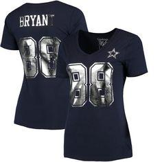 Cowboys Womens Dez Bryant Shimmer Away Name & Number V-Neck T-Shirt – Navy