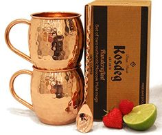 Moscow Mule Copper Mugs Set Of 2  FREE Bar Spoon Incl  Perfect Gift  ICE COLD 16 Oz Solid Hammered Beautiful Handcrafted Mug 100 Pure Copper No Nickel or Inner Chemical Lining >>> Want to know more, click on the image. (This is an affiliate link) #GlasswareDrinkware