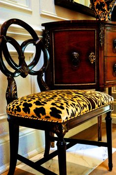 A side chair upholstered in Scalamandre Leopardo Leopard Silk Velvet Fabric. Note how effective the striped welting is. Animal Print Furniture, Animal Print Decor, Animal Prints, Furniture Decor, Painted Furniture, Leopard Chair, Take A Seat, Dining Room Chairs, Office Chairs
