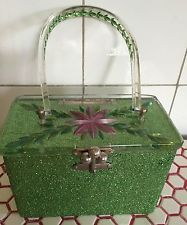 Vintage 1950s 50s Charles Kahn Green Glitter Hand Painted Carved Lucite Purse