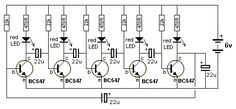The LEDs in this circuit produce a chasing pattern similar the running LEDs display in video shops. All transistors will try to come on at . Basic Electronic Circuits, Electronic Circuit Projects, Electronic Schematics, Electronic Engineering, Electrical Engineering, Simple Electronics, Electronics Basics, Electronics Components, Electronics Projects