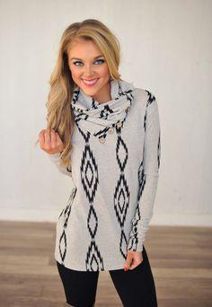 Dottie Couture Boutique - Cowl Aztec Tunic- Grey/Black , $42.00 (http://www.dottiecouture.com/cowl-aztec-tunic-grey-black/)