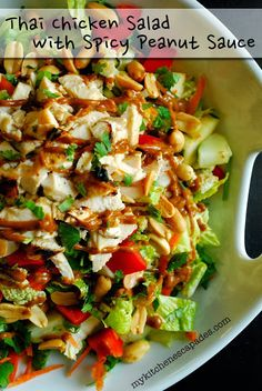 "Thai Chicken Salad with Spicy Peanut Sauce: my family declared ""If salads always tasted as good as this one, I would eat them all the time!"" I think that is all the testimonial necessary."