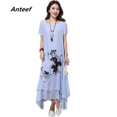 100c003072 fashion cotton linen plus size vintage print women casual loose long summer  dress vestidos femininos party
