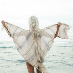 A beach blanket, scarf, or lightweight cover up || The 'Southside Breeze Poncho Scarf'  is all you need & more