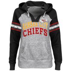 Kansas City Chiefs Ladies Huddle III Pullover Hoodie - Ash/Black