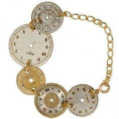 Clock Face Bracelet-- I bought some of these at an antique fair last year and have been having a hard time thinking of something to do with them...