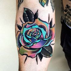 Rose in the ditch from @littleandytattoo #Inked #inkedmag #freshlyinked #Inkedshop #inkedgirls #tattoo #ditch #rose #rainbow #colorful #floral