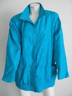 KRISTEN BLAKE Windbreaker Track Jacket Blue Size M #KristenBlake #Windbreaker