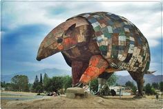 The armadillo , Argentina    Work done by sculptor Cordovan LEONARDO CABRAL.  The sculpture is made on the basis of new material, but all the coverage is recycled metal.