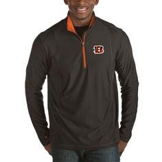 Cincinnati Bengals Antigua Tempo Half-Zip Pullover Jacket - Heather Black