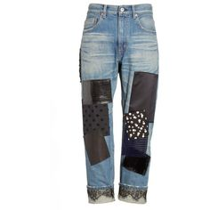 Women's Junya Watanabe Patchwork Boyfriend Jeans ($1,313) ❤ liked on Polyvore featuring jeans, relaxed fit jeans, junya watanabe, rolled up jeans, patchwork jeans and grunge boyfriend jeans