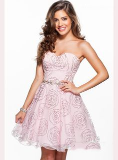 ihomecoming.com SUPPLIES Sweetheart Beaded Waistline Short A-Line Floral Homecoming Dress Sweet
