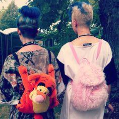 #FESTEVER hair, #FESTEVER backpacks. #pitchforkfestival #urbanoutfitters