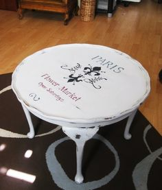 Upcycled shabby vintage round coffee table x