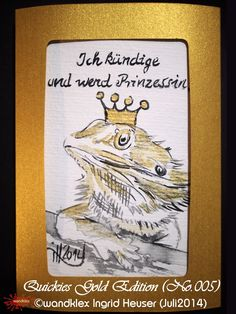 """No. 005 (Beispiel) Bartagame Luise - Tiermotiv-Grußkarten limitierte Edition """"Gold""""/limited Edition """"Gold""""  handgemalt nach Fotovorlage/animal's portrait greeting cards, painted from photograph; with water colour on Hahnemühle Paper © Wandklex Ingrid Heuser künstlerische Wandbemalung, Ratzeburg/Germany - ein Designerstück von wandklex bei DaWanda, - in meinem kleinen Klexshop http://de.dawanda.com/shop/wandklex können Sie Ihr persönliches Bild nach Ihrer eigenen Fotovorlage bestellen."""