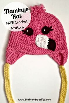 Free flamingo hat crochet pattern. Easy to read and follow crochet pattern. Great for beginner and intermediate crochet levels.