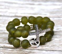 Green Glass Bead Bracelets