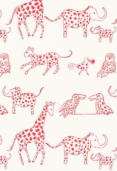 Fabric. Animal printed fabric. Love the new Lulu DK collection from Schumacher.  These animals are so cute and really needs to be made in a wallpaper!
