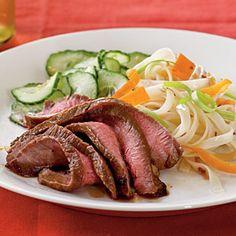 Maple and Soy-Glazed Flank Steak | MyRecipes.com #protein #myplate
