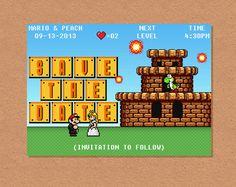 DIY Printable 8-Bit Video Game Wedding Save the Date by Spongeshoe