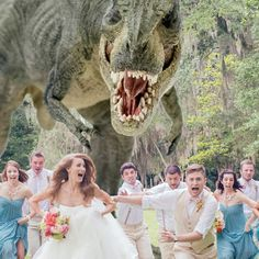 Wedding Photo of a Tyrannosaurus Rex Chasing Down the Bridal Party