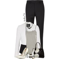 All Business in Black Pants by kelley74 on Polyvore featuring River Island, Jane Norman, Casadei, Tod's and Dorothy Perkins