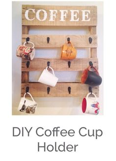 Make a rustic coffee cup holder for your kitchen out of a pallet