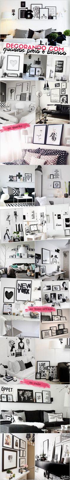 Decoração preto e branco | Black and white decor | http://cademeuchapeu.com