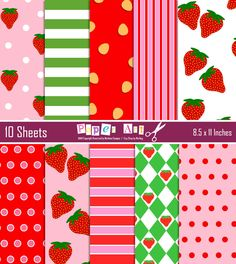 Vintage Strawberry Shortcake Inspired Backgrounds Pack by marlicg, $4.99