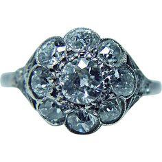 Antique 2.30ct Old Mine Cut Diamond Ring Platinum Estate Jewelry circa 1870s