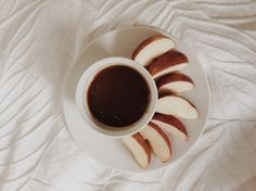 Home made salted caramel dipping sauce with apple slices