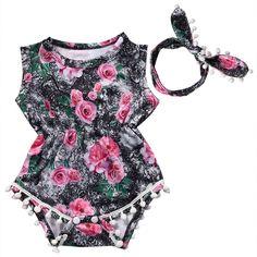 Girl Floral Rose Jumpsuit Set.