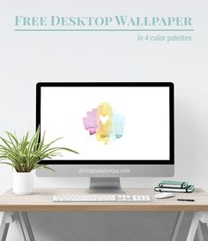 Download this free February desktop wallpaper in one of four colorways, featuring a sweet little watercolor Valentine's Day heart!