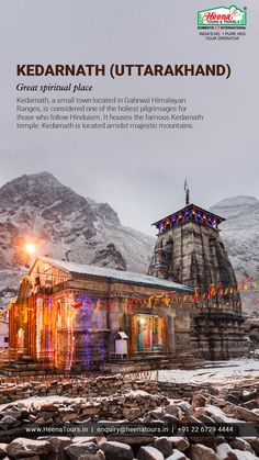 Kedarnath (Uttarakhand)..!! Kedarnath, a small town located in Gahrwal Himalayan Ranges, is considered one of the holiest pilgrimages for those who follow Hinduism. It houses the famous Kedarnath temple. Kedarnath is located amidst majestic mountains.