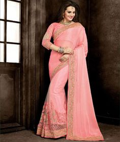 Buy Pink Bemberg Chiffon Wedding Saree 73981 with blouse online at lowest price…