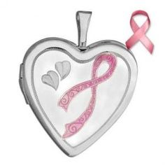 "Sterling Silver ""Breast Cancer Awareness Ribbon"" Heart Locket"