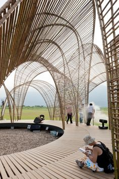 This pavilion forest design links in well with the rooftop layout of the new shopping male in Leeds city center.