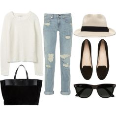 (minus the hat) adorable weekend outfit: cuffed bf jeans + black loafers + white chunky knitted sweater + simple tote bag + sunnies