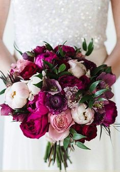 Modern wedding bouquet idea with pink + white flowers with peonies, rancluses + greenery  {Snowdrop Flowers}