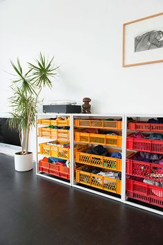 Wood and crate storage pieces Milk Crate Furniture, Recycled Furniture, Diy Furniture, Furniture Design, Storage Shelves, Shelving, Crate Storage, Plastic Crates, Interior Architecture