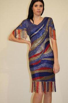 80s sequin dress with fringe.