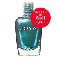 Zoya Nail Polish in Akyra can be best described as: Medium metallic teal shimmer in a dark smoky blue base. A dark aquatic shade for a hip and edgy nail look.