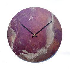 Original painting clock, purple wall clock, modern wall clock, unique clock, housewarming gift, wall decor, unique gift, artwork, art clock