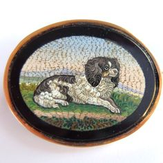 RARE ANTIQUE VICTORIAN 18K GOLD MICRO MOSAIC SPANIEL DOG BROOCH #Unbranded