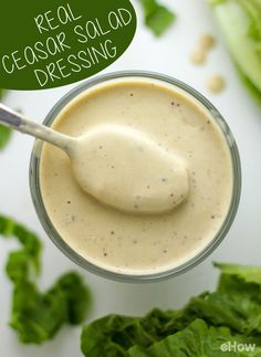 Make your own Ceasar dressing to ensure the best, healthiest salad dressing. Store-bought dressings can have tons of artificial ingredients and sugar. Recipe for fresh and real Ceasar dressing here: (Best Salad Dressing) Tapas, Do It Yourself Food, Salad Dressing Recipes, Caesar Dressing Recipe With Anchovies, Recipe For Ceasar Salad Dressing, Ceasar Salad Recipe Dressing, Caesar Salad Dressings, Gastronomia, Vegetarian Food
